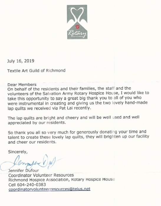 Hospice Thank you letter